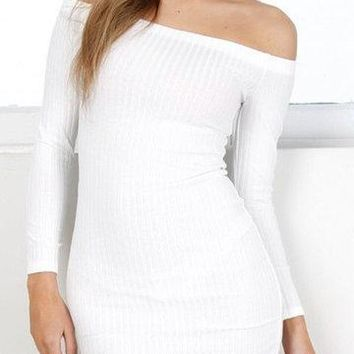 White Off Shoulder Long Sleeves Ribbed Mini Bodycon Dress
