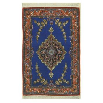 EORC Hand-knotted Wool & Silk Blue Traditional Oriental Isfahan Rug