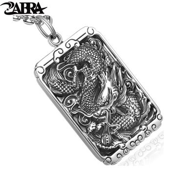 ZABRA 925 Sterling Silver 45*30mm Luxury Dragon Square Pendant Necklace For Men Carved Buddhism letter Vintage Biker Men Jewelry
