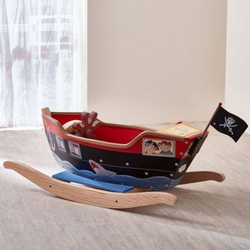 Teamson Kids - Kids Pirate Ship Ride On Toy with Sword, Scopr and Hat