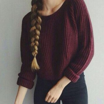 US Women Knitted Sweater Long Sleeve Jumper Knitwear Loose Cardigan Outwear Coat