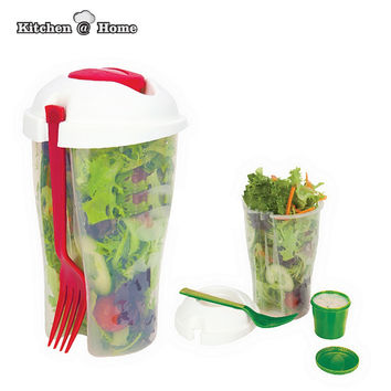 Fresh Salad On Go Cup Container Set with Fork&Dressing Holder Food Grade Plastic BPA Free