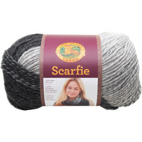 Lion Brand Scarfie Yarn in Silver Black Bulky Weight 5 Yarn