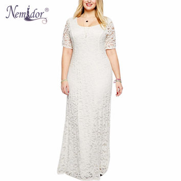 Nemidor 2017 Women Elegant Lace Party Dress Plus Size 7XL 8XL 9XL Short Sleeve Floor Length Summer Casual Long Maxi Dress