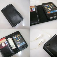 iPhone 4 Wallet Case with Bumper attachment by leathermix on Etsy