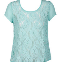 Lace Button-Back Short-Sleeve
