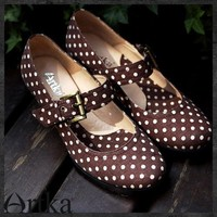 Latest Vintage Coffee Dots Round-headed Square Medium heeled D08592 | Artka-Fashion - Clothing on ArtFire
