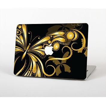 The Vibrant Gold Butterfly Outline Skin Set for the Apple MacBook Air 11""
