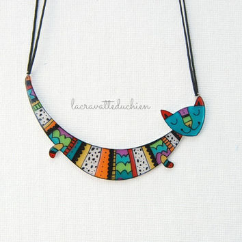 Cat Statement necklace - illustrated cat jewelry- colorful gift for her - acrylic cat necklace