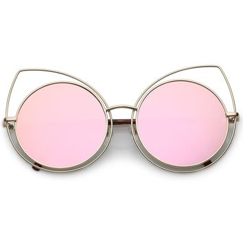 Oversize Thin Metal Cutout Cat Eye Sunglasses With Round Flat Mirrored Lens 58mm