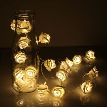 20 String Fashion Rose Flower Lights Wedding Party Garden Christmas Home Decoration Flower Rose LED Lights