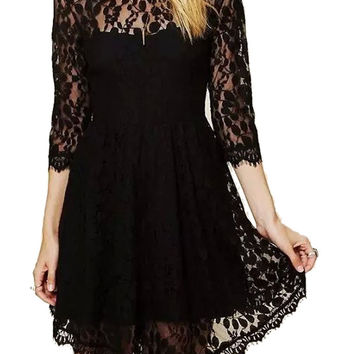 Black Lace 3/4 Sleeve High Waist Dress