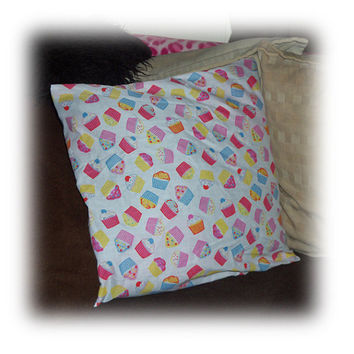 Cute pink yellow blue cupcake print Cushion pretty cupcakes 16 x 16 Inches ideal for car home or pet