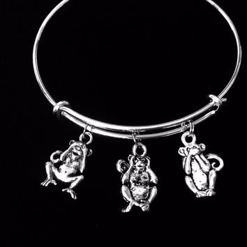 See No Evil Hear No Evil Speak No Evil Three Wise Monkeys Adjustable Bracelet Expandable Silver Charm Bangle Gift