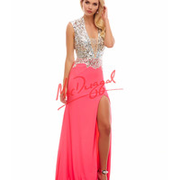 Plunging V-Neck Neon Pink Gown