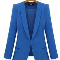 Notched Collar Long Sleeve Side Pocket Blazer