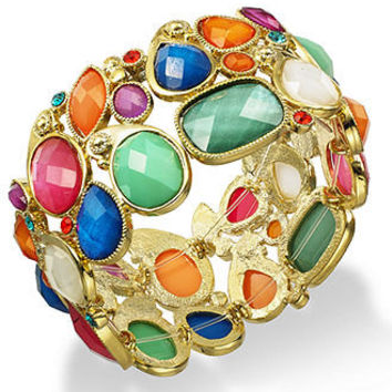 Style&co. Bracelet, Gold-Tone Multi-Color Bead Stretch Bracelet - Fashion Jewelry - Jewelry & Watches - Macy's