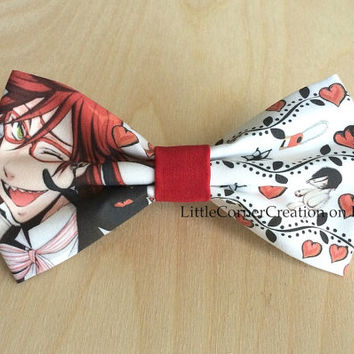 Black Butler Grell Sutcliff  Anime Inspired Hair Bow or  Bow Tie.