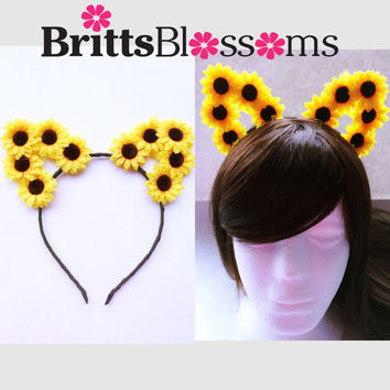 Sunflower Cat Ears, Cat Ears, Flower Cat Eats, Floral Cat Ears, Ariana Grande, Bachelorette, Flower headband, Flower halo, Flower crown