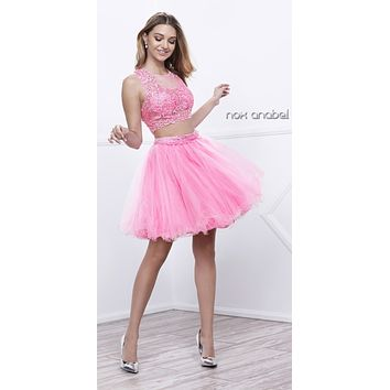 Short Sleeveless Two Piece Dress Baby Pink Lace Bodice
