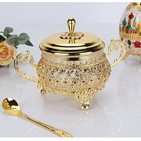 Classic  Gold Finish Kitchen Spice Glass Pot