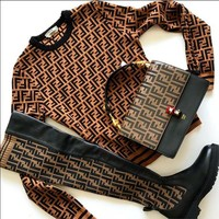 FENDI New Fashion long sleeve sweater Logo-jacquard stretch-knit and leather over-the-knee boots