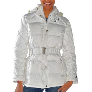 Philadelphia Eagles Ladies Icing Full Zip Quilted Jacket - White