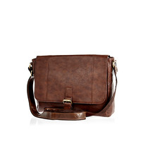 River Island MensBrown flap over messenger bag