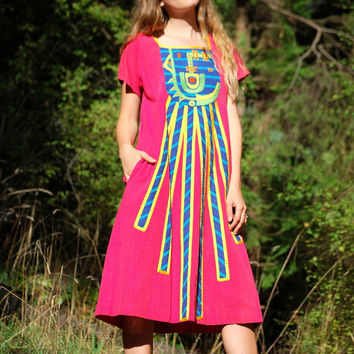 70's Mexican Embroider Dress, PINK Cotton Caftan, Boho tunic Dress, Patchwork AZTEC Festival Hippie Dress, Ethnic Short Sleeve Midi Dress