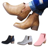 Casual Women Fashion Low Heel Thick Heel Boot Leather Zipper Boot