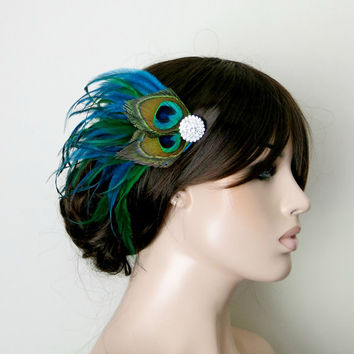 Gatsby Headpiece, Great Gatsby Wedding,1920s, Peacock, Bridal Head Piece, Peacock Feather, Fascinator,