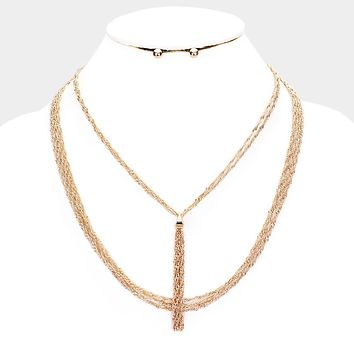 Thin Metal Chain Fringe Layered Necklace