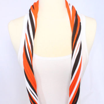 Cleveland Browns T-shirt Infinity Scarf - Orange, Brown and White Mix