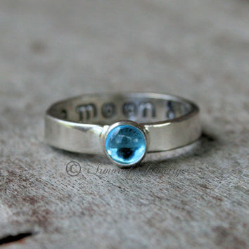 To The Moon And Back Birthstone Ring - Sterling Silver Ring - Mommy Ring - Childrens ring