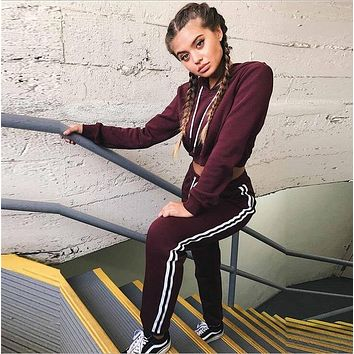 Cropped Striped Tracksuit
