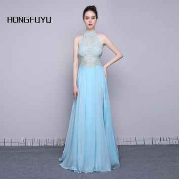 Halter Beaded Sleeveless Chiffon Lace Long Prom Dresses Backless A Line Slit Floor Length Prom Dress