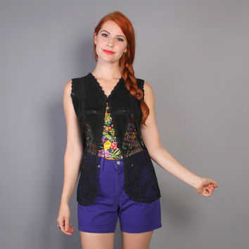 90s LEATHER & CROCHET VEST / Patchwork Long Black Suede Waistcoat