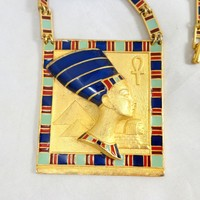 Vintage Egyptian Revival Nefertiti Enamel Link Necklace