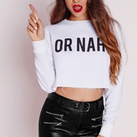 Missguided - Or Nah' Cropped Sweater White