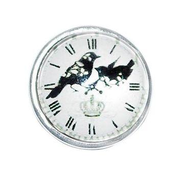 Crow Clock Design Snap Button Glass Chunk Charm