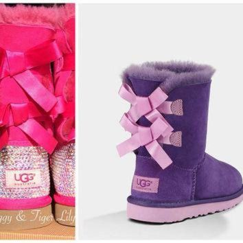 CREY1O Purple and Pink Ugg Bailey Bow Boots with Swarovski Crystal Embellishment - Bling Purp