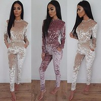 2016 New Rompers Womens Jumpsuit Turtle neck Suede Jumpsuit Autumn Winter Long Sleeve High Waist Solid Long Pants Jumpsuits
