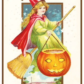 Halloween Witch on Broom  Pumpkin Counted Cross Stitch Pattern