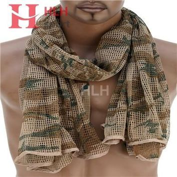 Russian YEGER Woodland Camo Tactical Army Mesh Cotton Scarf Hiking Scarves Sniper Veil Net 180cm*86cm