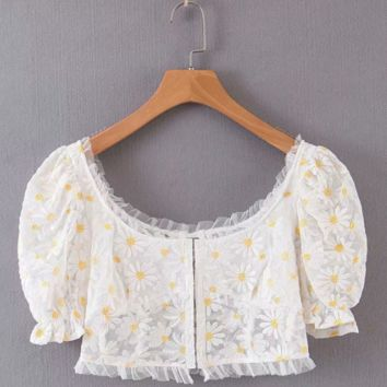 Autumn embroidery chrysanthemum mesh short shirt top