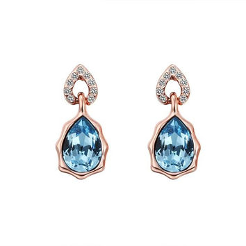 18K Rose Gold Saphire Gem Stud Earrings Made with Swarovksi Elements