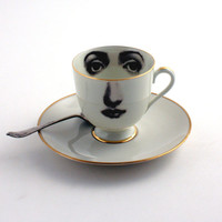 Altered Porcelain Eye Cup Espresso Coffee Saucer Woman Face Vintage White Brown Romantic whimsical