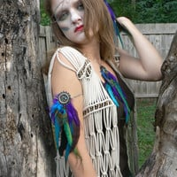 arm chain peacock purple feather dreamcatcher arm chain armlet in native american inspired tribal boho belly dancer and hipster style
