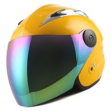 Motorcycle Street Bike Scooter Open Face 3/4 Adult Helmet Yellow