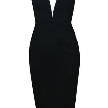 V-neck Strapless Open Back Bodycon Midi Dress